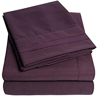 1500 Supreme Collection Bed Sheets - PREMIUM QUALITY BED SHEET SET & LOWEST PRICE, SINCE 2012 - Deep Pocket Wrinkle Free Hypoallergenic Bedding - Over 40+ Colors & Prints- 4 Piece, King, Purple