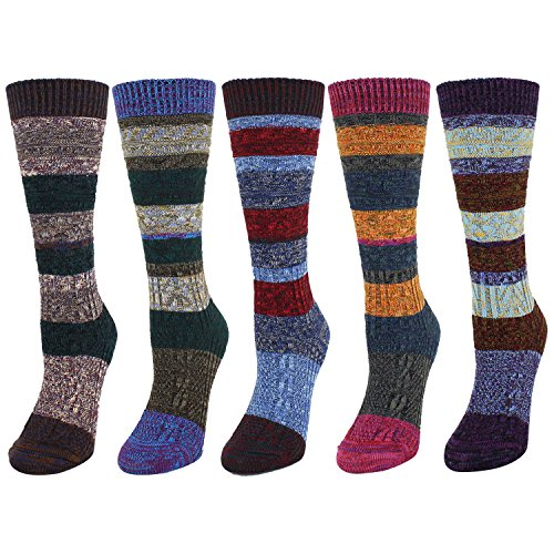 Zmart 5 Pack Women's Thick Knit Cotton Vintage Colorful Casual Fall Winter Crew Socks