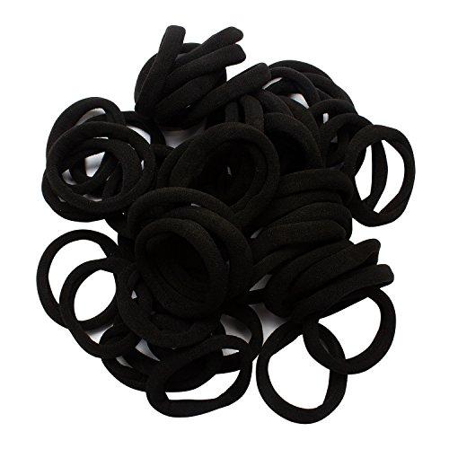 Jaciya 100 Pack Girls No-damage Elastic HairBand Hair Ties Rope Tiny Ponytail Holder Headband Accessories, Black