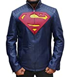 Superman Merchandise Leather Jacket - Blue Leather Man of Steel Apparel Jacket M