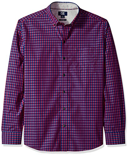 (Cutter & Buck Men's Small Plaid and Check Easy Care Button Down Collared Shirts, Virtual Myles, X-Large Tall)