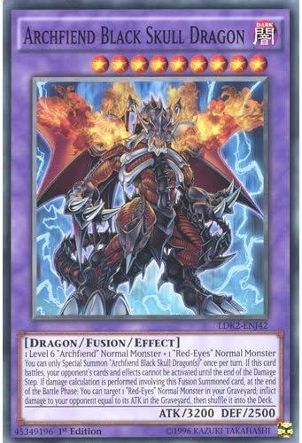 Amazon Com Deckboosters Yugioh Ldk2 Enj42 Limited Ed Archfiend Black Skull Dragon Common Card Yu Gi Oh Single Card Toys Games