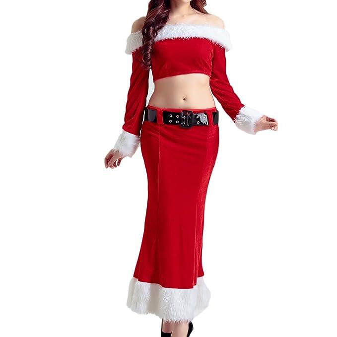Vestidos Navidad Disfraz Set ,Feicuan Mujer Off Shoulder Tops Thin Slim rojo falda con cinturón