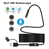YSBER Ear Endoscope Camera, Waterproof HD Borescope Inspection Camera Visual Earpick Tool with 6 Adjustable Led for Android Micro, Type c, USB PC (Black)