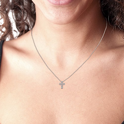 TriJewels Petite Round Diamond Cross Pendant I1-I2, H-I 0.10 ctw 14K White Gold with 18 Inches 14K Gold Chain
