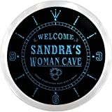 ncx2016-tm Sandra's Woman Cave Room Custom Name Neon Sign Clock