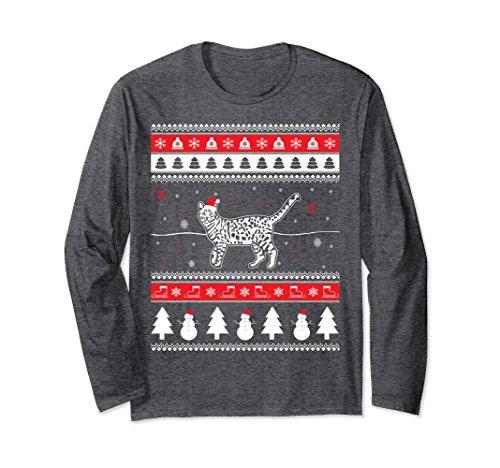 Unisex Funny Christmas Bengal Cat Long Sleeve T-Shirt Large Dark Heather