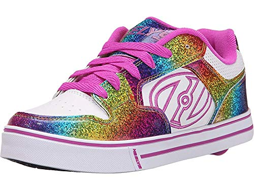 Adult Hot Wheels - Heelys Unisex Motion Plus (Little Kid/Big Kid/Adult) White/Rainbow/Hot Pink 8 Women / 7 Men M US