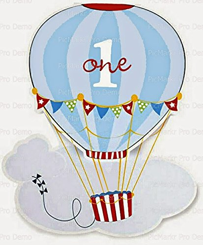 "2"" Round Cupcake (12 Per Sheet) - 1st Birthday Hot Air Ba..."