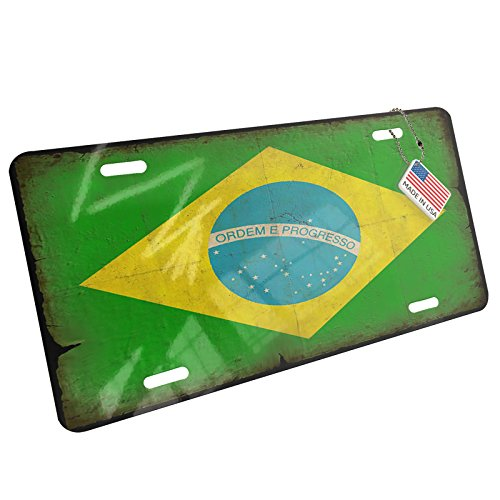 (Metal License Plate Brazil Flag with a vintage look - Neonblond)