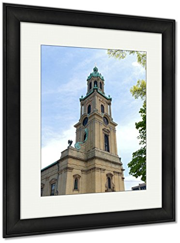Ashley Framed Prints Church Corner And Tower In Cathedral Plaza, Wall Art Home Decoration, Color, 40x34 (frame size), Black Frame, AG5448721 by Ashley Framed Prints