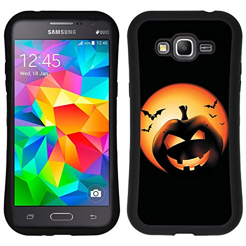 Graphic4You Halloween Theme Pumpkin Design Curved Shock-Proof Soft Rubber Anti-Slip Hybrid Gel Case Cover for Samsung Galaxy Grand (Halloween Theme Designs)