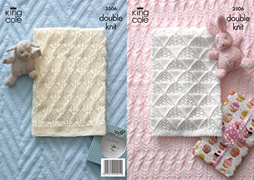 King Cole Double Knitting DK Pattern Baby Picot Edging Pram Blanket & Cable Knit Cot Blanket (Baby Dk Pattern)
