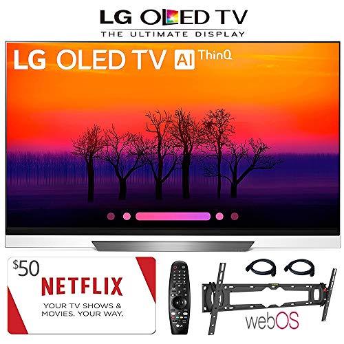 LG Electronics OLED65E8PUA 65-Inch 4K Ultra HD Smart OLED TV (2018 Model), 50 Netflix Gift Card, Wall Mount, 2HDMI Cables. Authorized LG Dealer.