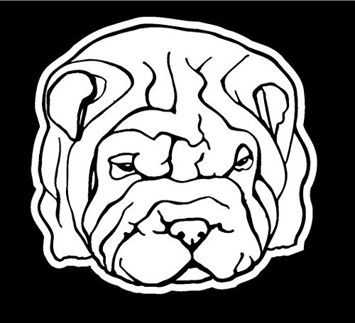 Shar-Pei Head Decal Sticker - Peel and Stick Sticker Graphic - - Auto, Wall, Laptop, Cell, Truck Sticker for Windows, Cars, Trucks ()