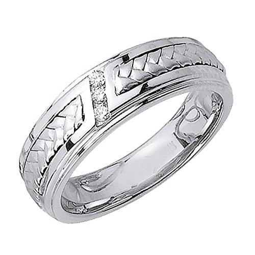 - 0.09ct TDW White Diamonds 14K Gold Braided Men's Wedding Band (G-H, SI1-SI2) (6mm) Size-9c4