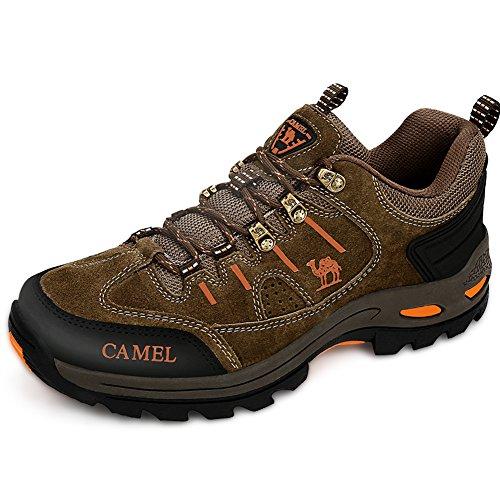 Camel Crown Hiking Shoes Women Men Trekking Trail Shoe Low Top Outdoor Leather Hike Sneakers Shockproof Trek Sneaker(Khaki,8.5 D(M) US) by Camel Crown