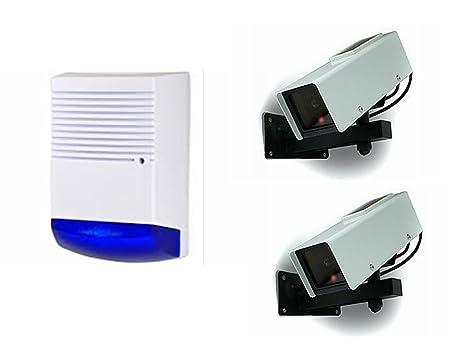 Funciona con energía solar dummy alarma Bell caja + 2 x ...