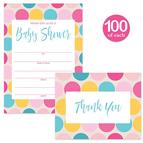 Baby Shower Invitations & Thank You Cards Matching Boy Girl Set with Envelopes ( 100 of Each ) Large Celebration Mommy-to-Be Gender Neutral Fill-In Invites & Folded Thank You Notes Best Value Pack by Digibuddha