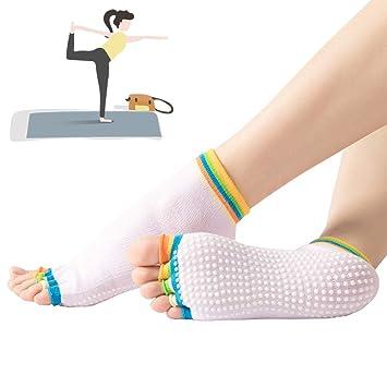 3 Pares Calcetines Yoga Antideslizante Silicona Gránulos ...