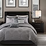 Madison Park Quinn Queen Size Bed Comforter Set Bed in A Bag - Grey, Jacquard – 7 Pieces Bedding Sets – Ultra Soft Microfiber Bedroom Comforters