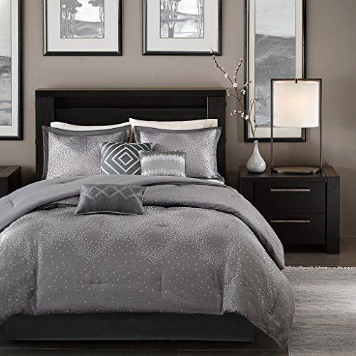 Madison Park Quinn 7 Piece Comforter Set, Queen, Grey ()
