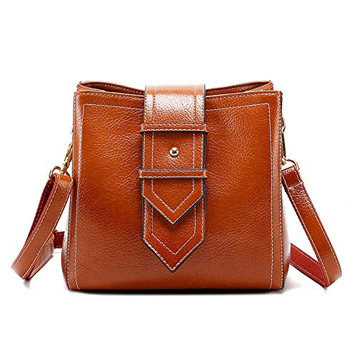 Women PU Leather Hobo Bag Vintage Boston Bucket Bags Fashion Sling Brown Shoulder Bag for Ladies