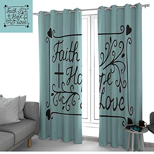 (NUOMANAN Blackout Curtains for Bedroom Hope,Hand Lettering Spiritual Faith Hope Love Quote with Floral Arrangement Hearts,Pale Blue and Black,Darkening Grommet Window Curtain-Set of 2 52