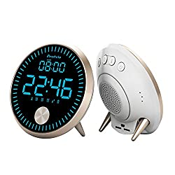Digital Alarm Clock for Bedroom with Smart LED Display and Dual Alarms, Usb Charger, Round
