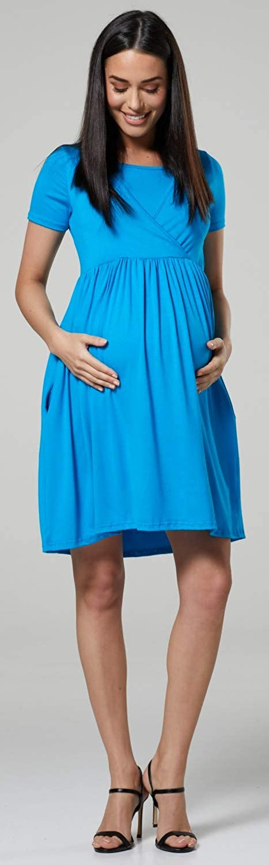 HAPPY MAMA Womens Maternity Nursing Empire Waist Pleated Dress-Crew Neck 104p