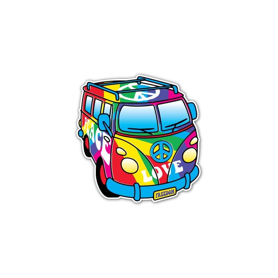 Peace Love Bus Rainbow Flag Car Bumper Sticker Decal 4.5x4