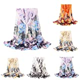 Lightweight Fall Scarfs for Women Hot Sale,deatu Clearance Ladies Flowers Printing Long Soft Wrap Scarf Shawl