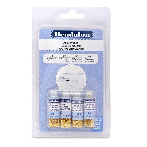 Beadalon Crimp Tube Variety Pack 1-4 Gold Plated, 600-Piece by Beadalon