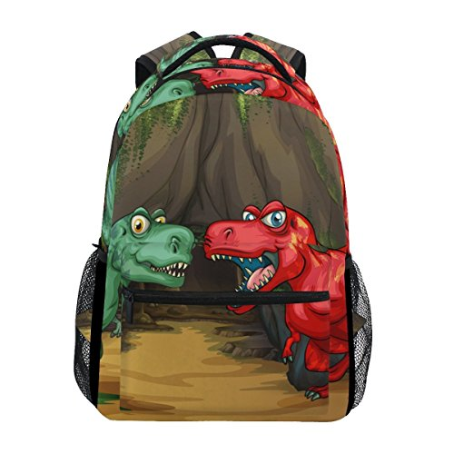 Chunky Satchel - Cute Cartoon Dinosaur Pattern Print Unisex Rucksack Satchel Casual Daypack, Hiking Backpack