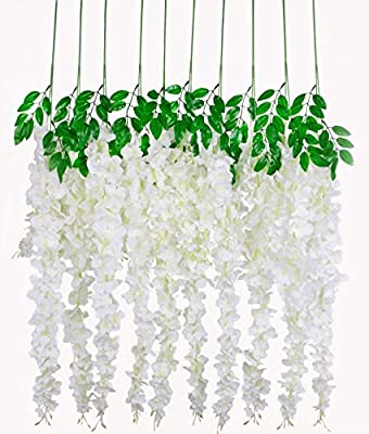 "Huata 10PCS 38"" Artificial Flower Silk Wisteria Vine Ratta Hanging For DIY Wedding Receptions,Garlands,Arches,Dining,Table Centrepieces"