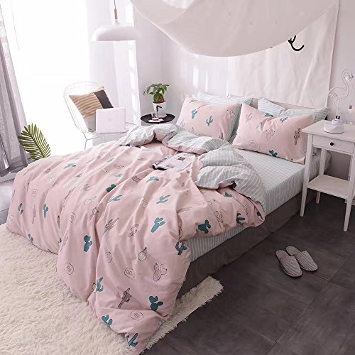 HIGHBUY Cactus Print Kids Duvet Cover Set Full 100% Cotton Pink Striped Children Duvet Cover with Zipper Closure 3 Piece Reversible Bedding Set Queen for Girls by HIGHBUY (Image #7)