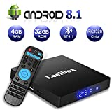 Android 8.1 tv Box, Leelbox Q4 S 4GB+32GB Quad Core Smart TV Box Support BT 4.1/2.4GHz WiFi/3D/4K/H.265