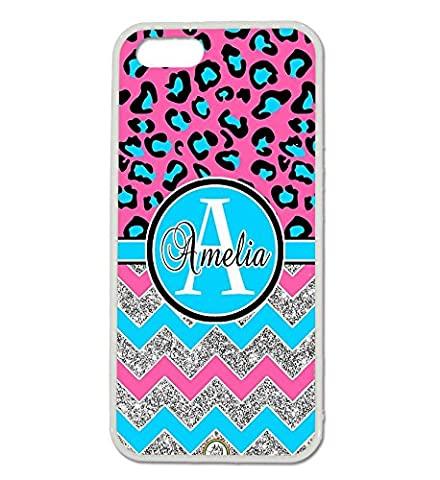 iPhone 5S Case, iPhone 5 Case, ArtsyCase Blue Pink Leopard Cheetah Silver Chevron Monogram Personalized Name Phone Case - iPhone 5 and iPhone 5S (Iphone 5 Cases Cheetah)