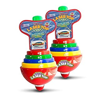 Geospace Super Sonic Laser Top Spinning Toy with Flashing Lights & Sounds (2-Pack)