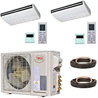 YMGI Dual Zone - 18000 (9k+9k) BTU Ceiling Suspension Mini Split Air Conditioner with Heat Pump for Home, Office, Apartment