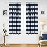 nautical decor for kids - Deconovo Navy Blue Striped Blackout Curtains Rod Pocket Nautical Navy and Greyish White Striped Curtains for Kids Room 42W X 72L Navy Blue 2 Panels