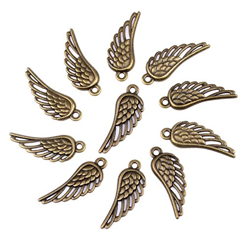 20 Pieces Angel Wings Protection Lucky Charms Findings for Jewelry Pendant Necklace Making 12mm X - Jewelry Angel Charm