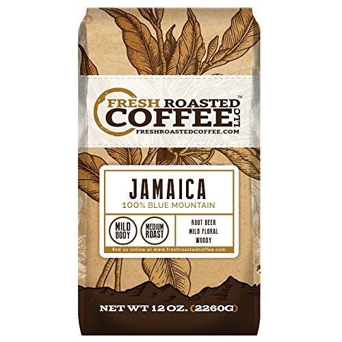 100% Jamaica Blue Mountain Coffee, Whole Bean Bag, Fresh Roasted Coffee LLC. (12 oz.) Blue Mountain Sweet Coffee