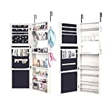 Bonnlo Jewelry Armoire Wall Mounted Door Hanging Lockable Full Mirrored Cabinet, Villous Render Inside, Multilayer Styrofoam Packed for Make up, Necklace, Cosmetics, belt Heavy Duty Bedroom Organizer