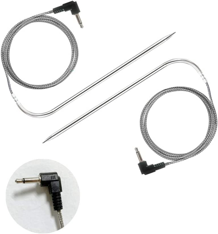 2Pc Waterproof BBQ Probe Noblik Replacement High-Temperature Meat Probe for Pellet Grills and Pellet Smokers Compatible with Pit Boss Grills