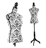 Female Mannequin Torso Dress Form Black Tripod Stand Display Baroco Style
