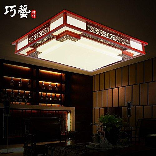 BLYC- Chinesischen Stil Decke Lampe rechteckigen Wohnzimmer Lampe Studie kleine treffen Raum massives Holz Acryl LED Beleuchtung Lampen 1050 * 840 * 140 mm