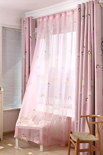 AiFish 1 Panel Sheer Window Voile Curtain Natural Light Flow Girls Castle Printed Home Decor Rod Pocket Sheer Panel Curtains Fabric Sheer Voile Curtains for Living Room W39 x L84 inch