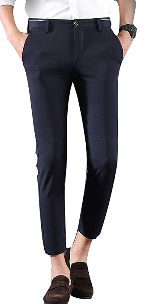 a10a083a527 Plaid Plain Men s Casual Stretch Flat Front Dress Pants Slim-Tapered Suit  Pants at Amazon Men s Clothing store