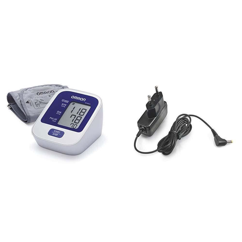 OMRON M2 Basic - Tensiómetro de brazo digital, tecnología Intellisense para dar lecturas de presión arterial rápidas, cómodas y precisas + Adaptador ...
